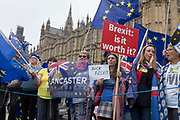 Anti-brexit protestors gather outside the British Houses of Parliament in Westminster, on 12th June 2018, in London, England.