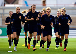 NEWPORT, WALES - Thursday, August 30, 2018: England's L-R Steph Houghton, Jill Scott, Millie Bright and Alex Greenwood during a training session at Rodney Parade ahead of the final FIFA Women's World Cup 2019 Qualifying Round Group 1 match between Wales and England. (Pic by David Rawcliffe/Propaganda)