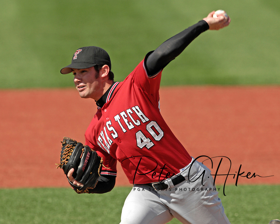 Texas Tech pitcher Aaron Odom pitches in the bottom of the eighth against Kansas State at Tointon Stadium in  Manhattan, Kansas, April 1, 2007.  Kansas State defeated Texas Tech 7-3.