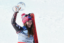 16.03.2017, Ski Stadium, Aspen, USA, FIS Weltcup Ski Alpin, Finale 2017, SuperG, Damen, Siegerpräsentation, im Bild Tina Weirather (LIE, Siegerin Super G Weltcup) mit der Kristrallkugel für den SuperG Weltcupsieg // Winner of the Super G WeltcupTina Weirather of Liechtenstein with the crystal gobe for the ladie's Super-G World Cup during the winner presentation for the ladie's Super-G of 2017 FIS ski alpine world cup finals. Ski Stadium in Aspen, United Staates on 2017/03/16. EXPA Pictures © 2017, PhotoCredit: EXPA/ Spiess