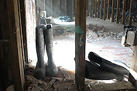Work boots in the interior of gutted home in Lower Ninth Ward