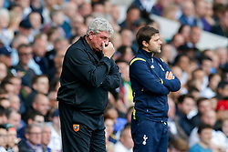 Hull City Manager Steve Bruce rubs his face in frustration - Photo mandatory by-line: Rogan Thomson/JMP - 07966 386802 - 16/05/2015 - SPORT - FOOTBALL - London, England - White Hart Lane - Tottenham Hotspur v Hull City - Barclays Premier League.
