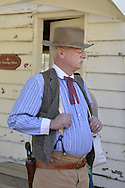 Old Bethpage, New York, U.S. 29th September 2013. GUY SMITH of Huntington is a Civil War Re-enactor at The Long Island Fair. A yearly event since 1842, the county fair now is held at a reconstructed fairground at Old Bethpage Village Restoration.