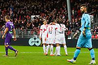 JOIE 2EME BUT BREST SUR PENALTY Bruno GROUGI  - 20.12.2014 - Brest / Ajaccio - 18eme journee de Ligue 2 <br /> Photo : Vincent Michel / Icon Sport