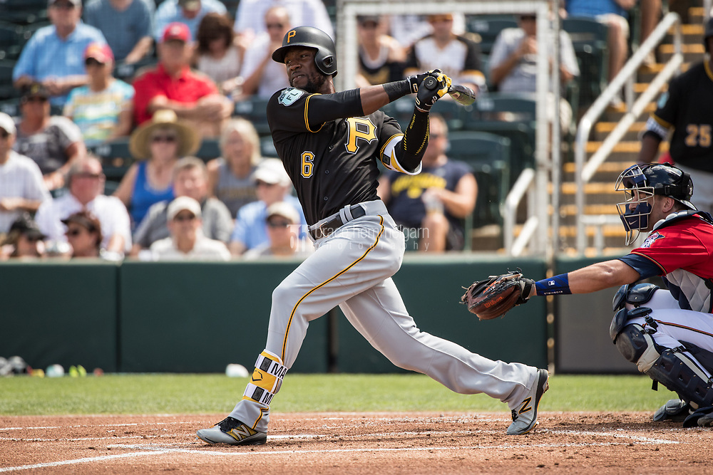 FORT MYERS, FL- MARCH 01: Starling Marte #6 of the Pittsburgh Pirates bats against the Minnesota Twins on March 1, 2017 at the CenturyLink Sports Complex in Fort Myers, Florida. (Photo by Brace Hemmelgarn) *** Local Caption *** Starling Marte
