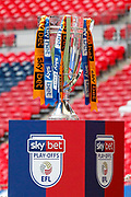 EFL Play-Off final trophy before the EFL Sky Bet League 2 Play Off Final match between Newport County and Tranmere Rovers at Wembley Stadium, London, England on 25 May 2019.