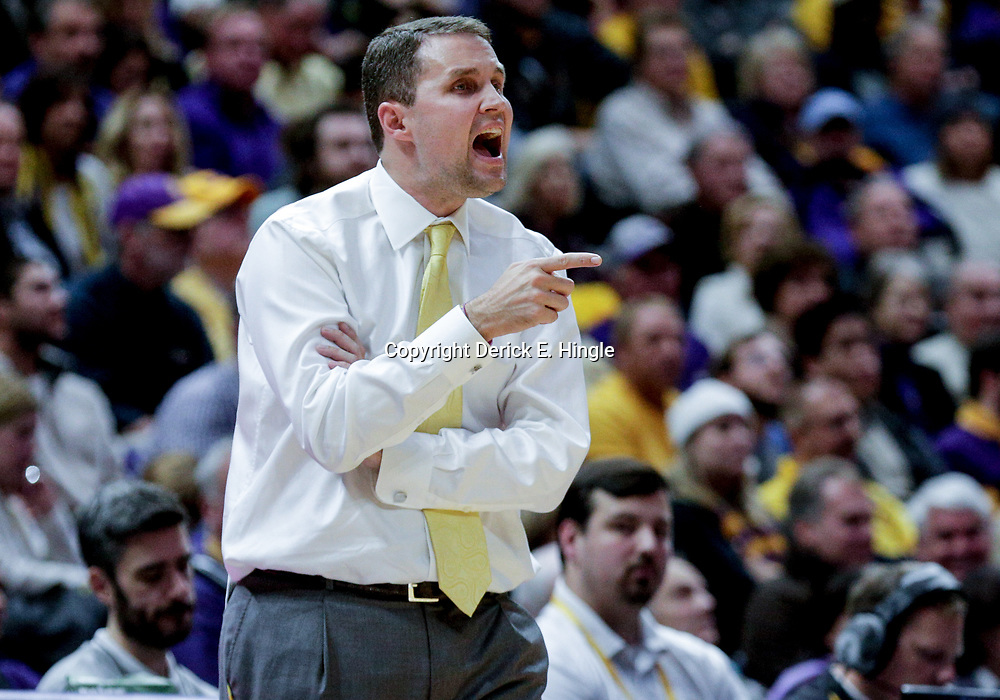 Jan 3, 2018; Baton Rouge, LA, USA; LSU Tigers head coach Will Wade against the Kentucky Wildcats during the second half at the Pete Maravich Assembly Center. Kentucky defeated LSU 74-71.  Mandatory Credit: Derick E. Hingle-USA TODAY Sports
