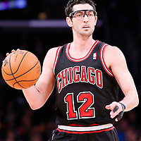 09 February 2014: Chicago Bulls shooting guard Kirk Hinrich (12) brings the ball upcourt during the Chicago Bulls 92-86 victory over the Los Angeles Lakers at the Staples Center, Los Angeles, California, USA.