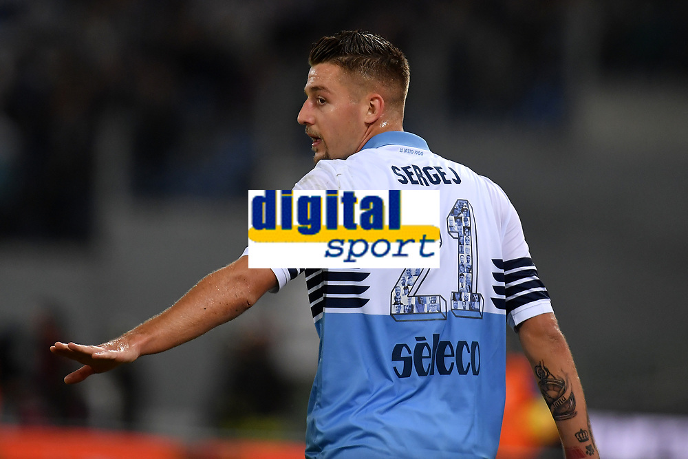 Sergej Milinkovic-Savic of Lazio reacts during the Serie A 2018/2019 football match between SS Lazio and FC Internazionale at stadio Olimpico, Roma, October, 29, 2018 <br />  Foto Andrea Staccioli / Insidefoto