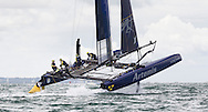 The Swedish Artemis Racing Team in action off Portsmouth on the first day of the America's Cup World Series which runs until Sunday. <br /> The world's oldest sporting trophy has not been contested in British waters until now.<br /> Ainslie's team hope to wrestle it back from the current holders Oracle Team USA.<br /> Picture date: Wednesday July 2, 2014.<br /> Photograph by Christopher Ison &copy;<br /> 07544044177<br /> chris@christopherison.com<br /> www.christopherison.com