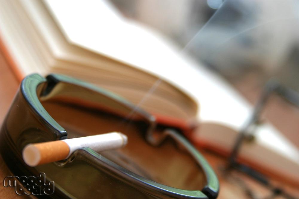 Cigarette in ashtray - close-up