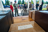 The remains of Robert Stewart, who died in 2017, rest on a table during burial services with full military honors, held for 12 veterans left unattended by family or friends Thursday, August 29, 2019 at Washington Crossing National Cemetery in Washington Crossing, Pennsylvania. Once a month, burials are held for veterans who have no family and their remains have never been claimed. Some vets remains have waited 12 years for burial. (Photo by William Thomas Cain / CAIN IMAGES)