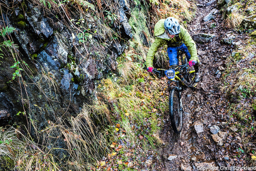 Kinlochleven, Scottish Highlands, UK. 20th November 2016. Mountain bikers compete in an enduro on the snow laden hill sides surrounding Kinlochleven in the Scottish Highlands.
