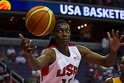 Team USA center Sylvia Fowles grabs the loose ball during the 2012 USA Women's Basketball Team versus Brazil at Verizon Center in Washington, DC.  July 16, 2012  (Photo by Mark W. Sutton)