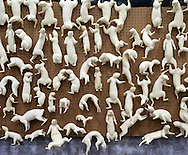 A wall of squirrel mannequins at the tradeshow