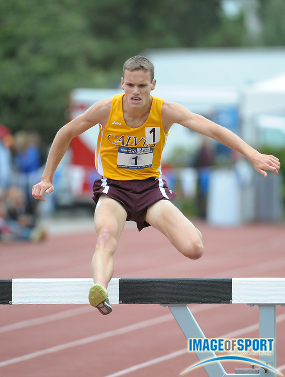 May 26, 2012; Claremont, CA, USA; Nick Kramer of Calvin wins the steeplechase in a meet record 8:51.01 in the 2012 NCAA Division III Track & Field Championships at Claremont-Mudd-Scripps College.