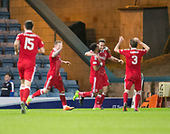 Aberdeen&rsquo;s Andrew Considine is congratulated any Shay Logan after scoring the fourth - Dundee v Aberdeen in the Ladbrokes Scottish Premiership at Dens Park, Dundee. Photo: David Young<br /> <br />  - &copy; David Young - www.davidyoungphoto.co.uk - email: davidyoungphoto@gmail.com