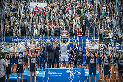 April 29, 2018 - Barcelona, Catalonia, Spain - RAFAEL NADAL (ESP) presents the trophy for his 11th title at the 'Barcelona Open Banc Sabadell' after winning the final against Stefanos Tsitsipas (GRE). Nadal won  6:2, 6:1 (Credit Image: © Matthias Oesterle via ZUMA Wire)