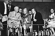 1959. N.Khrushchev with Mrs Cabot Lodge.<br /> <br /> 1959. De gauche a droite, N. Khrouchtchev, Mme Cabot Lodge et Nina Petrovna Khrushcheva, troisieme femme du leader Soviet Nikita Khrouchtchev.
