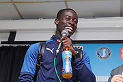 AFC Wimbledon defender Paul Osew (37) smiling during the EFL Sky Bet League 1 match between AFC Wimbledon and Rochdale at the Cherry Red Records Stadium, Kingston, England on 5 October 2019.