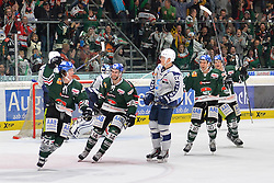 02.10.2015, Curt Frenzel Stadium, Augsburg, GER, DEL, Augsburger Panther vs Hamburg Freezers, 7. Runde, im Bild Torjubel T.J. Trevelyan #24 (Augsburger Panther), Ben Hanowski #14 (Augsburger Panther), Julian Jakobsen #33 (Hamburg Freezers), Jon Matsumoto #10 (Augsburger Panther), James Bettauer #15 (Augsburger Panther)<br /><br />AEV Augsburg Panther - Hamburg Freezers, DEL, Eishockey, Herren, Saison 2015 2016, 02.10.2015, Foto: Eibner // during the German DEL Icehockey League 7th round match between Augsburger Panther and Hamburg Freezers at the Curt Frenzel Stadium in Augsburg, Germany on 2015/10/02. EXPA Pictures © 2015, PhotoCredit: EXPA/ Eibner-Pressefoto/ Hiermayer<br /> <br /> *****ATTENTION - OUT of GER*****