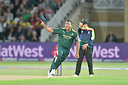 Samit Patel celebrating the wicket of Ryan Ten Doeschate (not shown) during the Natwest T20 Blast quarter final match between Nottinghamshire County Cricket Club and Essex County Cricket Club at Trent Bridge, West Bridgford, United Kingdom on 8 August 2016. Photo by Simon Trafford.