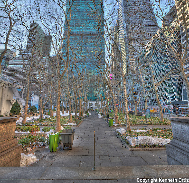 A beautiful Winter afternoon at Bryant Park in  Midtown Manhattan.