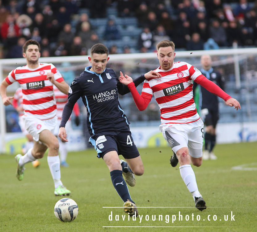 Dundee's Alex Harris and Hamilton&rsquo;s Jon Routledge -  Dundee v Hamilton Academical, SPFL Premiership at Dens Park <br /> <br /> <br />  - &copy; David Young - www.davidyoungphoto.co.uk - email: davidyoungphoto@gmail.com