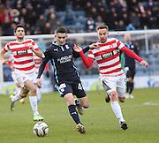 Dundee's Alex Harris and Hamilton&rsquo;s Jon Routledge -  Dundee v Hamilton Academical, SPFL Premiership at Dens Park <br /> <br /> <br />  - &copy; David Young - www.davidyoungphoto.co.uk - email: davidyoungphoto@gmail.com