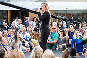 "Photos of the singer Kelly Clarkson performing live on NBC's ""Today"" at Rockefeller Plaza, NYC on June 8, 2018. © Matthew Eisman/ Getty Images. All Rights Reserved"