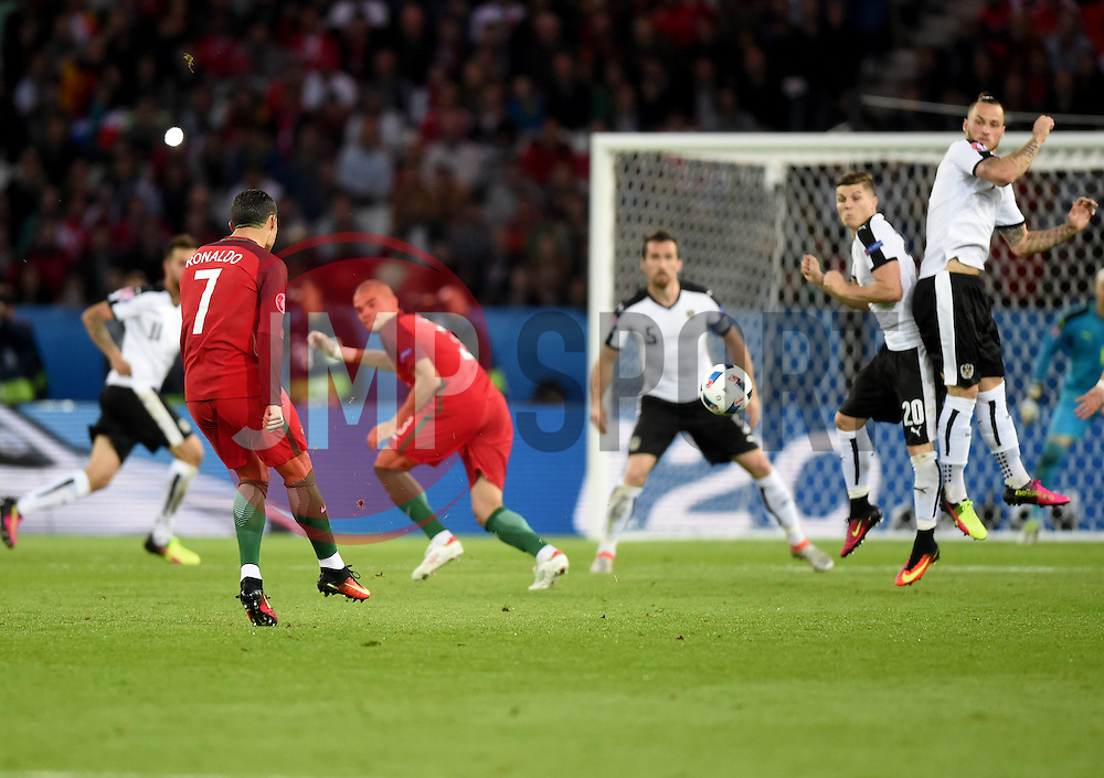 Cristiano Ronaldo of Portugal watches his free kick hit the wall  - Mandatory by-line: Joe Meredith/JMP - 18/06/2016 - FOOTBALL - Parc des Princes - Paris, France - Portugal v Austria - UEFA European Championship Group F