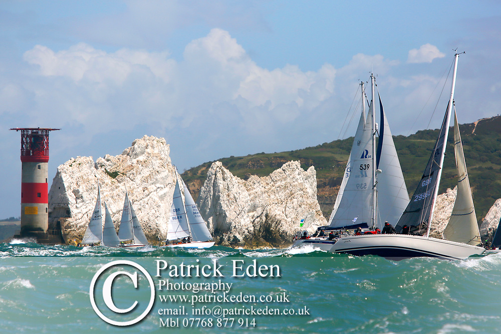 Isle of Wight, Cowes, Round the Island Race, J P Morgan, 2016, GBR 4344, GBR 3527T, GBR 968R,  539,  GBR 2996L, The Needles, Freedom, Shaytana, ~Sea Star, Hobo,