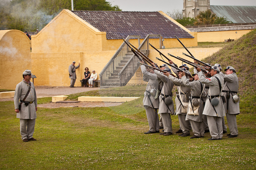 Confederate re-enactors drill and fire inside Fort Moultrie Charleston, SC. The re-enactors are part of the 150th commemoration of the US Civil War.