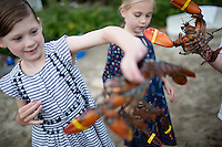 Kids and Maine lobsters