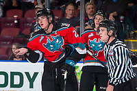 KELOWNA, CANADA - OCTOBER 27: Cal Foote #25 of the Kelowna Rockets reacts to a high stick by the against the Tri-City Americans on October 27, 2017 at Prospera Place in Kelowna, British Columbia, Canada.  (Photo by Marissa Baecker/Shoot the Breeze)  *** Local Caption ***