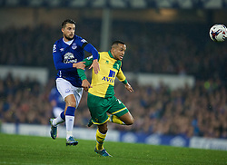 LIVERPOOL, ENGLAND - Tuesday, October 27, 2015: Everton's Kevin Mirallas in action against Norwich City's Martin Olsson during the Football League Cup 4th Round match at Goodison Park. (Pic by David Rawcliffe/Propaganda)