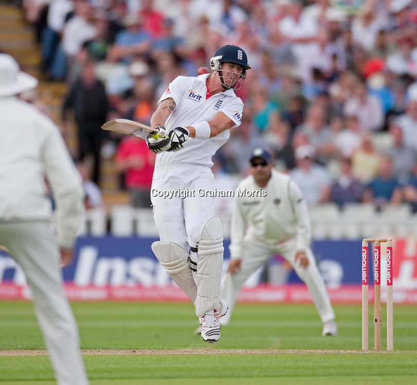 Kevin Pietersen avoids a ball from Ishant Sharma during the third npower Test Match between England and India at Edgbaston, Birmingham.  Photo: Graham Morris (Tel: +44(0)20 8969 4192 Email: sales@cricketpix.com) 11/08/11