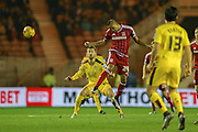 Middlesbrough midfielder Emilio Nsue  wins the header  during the Sky Bet Championship match between Middlesbrough and Burnley at the Riverside Stadium, Middlesbrough, England on 15 December 2015. Photo by Simon Davies.