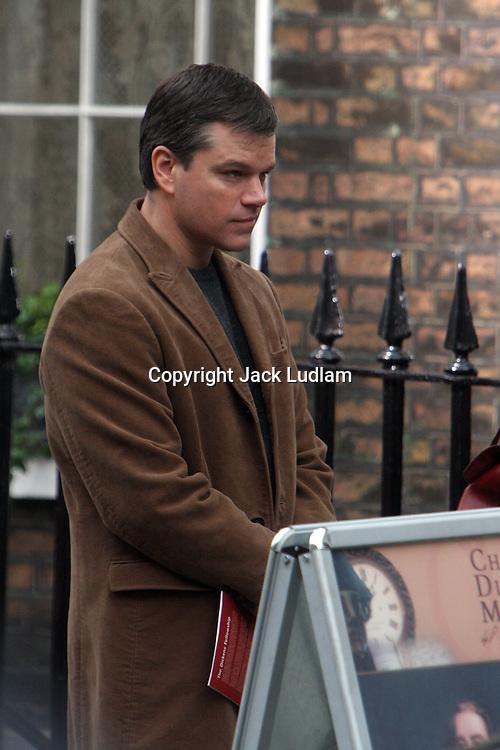 Matt Damon Filming Hereafter in finsbury London, directed by Clint Eastwood