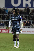 Marland Yarde during the Aviva Premiership match between Sale Sharks and Northampton Saints at the AJ Bell Stadium, Eccles, United Kingdom on 25 November 2017. Photo by George Franks.