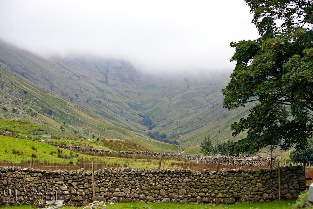 Stone fence across a field