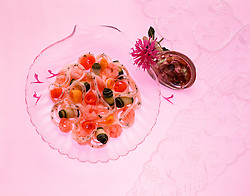 nutritional, eating, light, and, easy, recipe, low, calorie, garnish, beebalm, flower,  Bankok shrimp with vegetables on glass plate Cuisine copy space