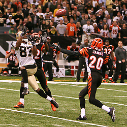 November 19, 2006; New Orleans, LA, USA; New Orleans Saints wide receiver Joe Horn (87) catches a touchdown against the Cincinnati Bengals during the first half of a game at the Louisiana Superdome in New Orleans, LA. Mandatory Credit: Derick E. Hingle