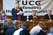 Paula Brown, PCS HSE representative speaking to members of the Trade Union Coordinating Group meeting in room 14 at the House of Commons , London.