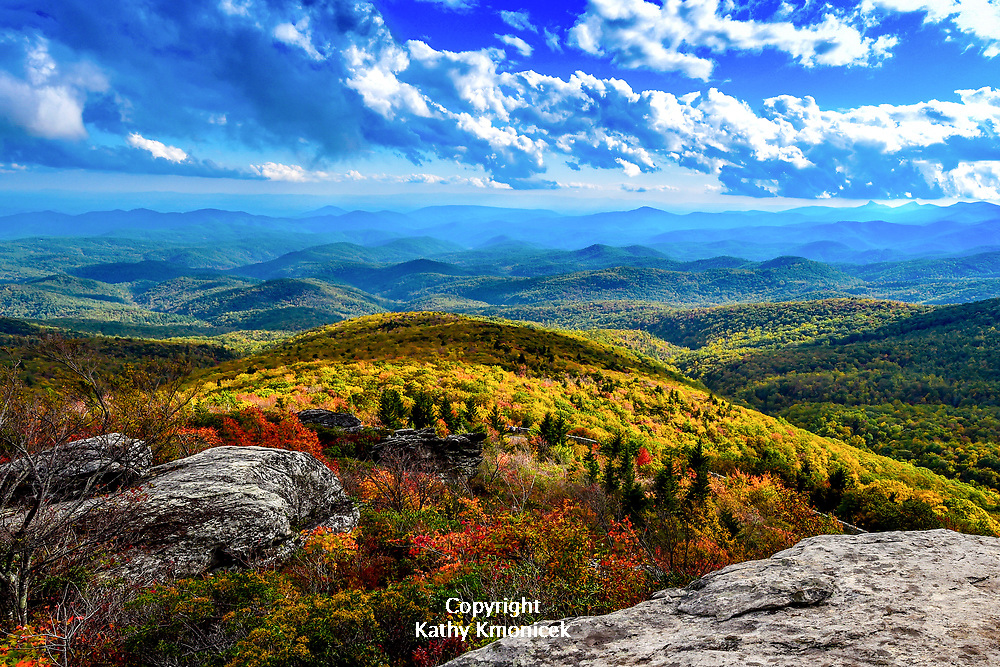 Views of the Blue Ridge Mountains from the Rough Ridge Trail off the Blue Ridge Parkway, part of both the Tanawha Trail and the Mountain to Sea Trail in the Pisgah National Forest on Sunday, Oct. 15, 2017 in Linville, N.C. <br />