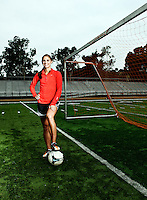 USA Soccer player Alex morgan poses for a portrait.