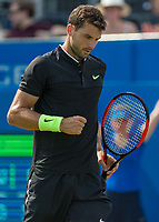 Tennis - 2017 Aegon Championships [Queen's Club Championship] - Day Three, Wednesday<br /> <br /> Men's Singles, Round of 16 - Grigor Dimitrov (BUL) vs Julien Benneteau (FRA)<br /> <br /> Grigor Dimitrov (BUL) with a clenched fist in celebration at Queens Club<br /> <br /> COLORSPORT/DANIEL BEARHAM