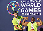 (L) Vladimir Grbic SO Ambassador celebrates his attempt in Unified Sports Experience Football 5-a-side match during fourth day of the Special Olympics World Games Los Angeles 2015 on July 28, 2015 at Intramural Fields UCLA (University of California, Los Angeles) in Los Angeles, USA.<br /> <br /> USA, Los Angeles, July 28, 2015<br /> <br /> Picture also available in RAW (NEF) or TIFF format on special request.<br /> <br /> For editorial use only. Any commercial or promotional use requires permission.<br /> <br /> Adam Nurkiewicz declares that he has no rights to the image of people at the photographs of his authorship.<br /> <br /> Mandatory credit:<br /> Photo by &copy; Adam Nurkiewicz / Mediasport