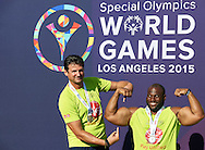(L) Vladimir Grbic SO Ambassador celebrates his attempt in Unified Sports Experience Football 5-a-side match during fourth day of the Special Olympics World Games Los Angeles 2015 on July 28, 2015 at Intramural Fields UCLA (University of California, Los Angeles) in Los Angeles, USA.<br /> <br /> USA, Los Angeles, July 28, 2015<br /> <br /> Picture also available in RAW (NEF) or TIFF format on special request.<br /> <br /> For editorial use only. Any commercial or promotional use requires permission.<br /> <br /> Adam Nurkiewicz declares that he has no rights to the image of people at the photographs of his authorship.<br /> <br /> Mandatory credit:<br /> Photo by © Adam Nurkiewicz / Mediasport