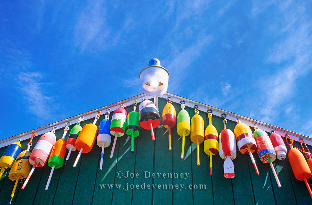 Lobster buoys at a fishermen's co-op. Swan's Island, Maine